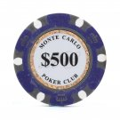50pcs Matte Monte Carlo Poker Club Clay Chip $500 Purple 14 Gram (Ship US Country Only)#14480x50#