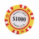 50pcs Matte Monte Carlo Poker Club Clay Chip $1000 Yellow 14 Gram (Ship US Country Only)#14481x50#