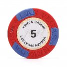 50pcs Kings Casino Las Vegas Nevada Clay Poker Chip $5 Red 14 Gram (Ship US Country Only)#14483x50#