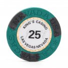50pcs Kings Casino Las Vegas Nevada Clay Poker Chip $25 Green 14g (Ship US Country Only)#14484x50#