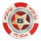 50pcs Matte Star Clay Poker Chips $5 Red 14 Gram (Ship US Country Only) #10997x50#