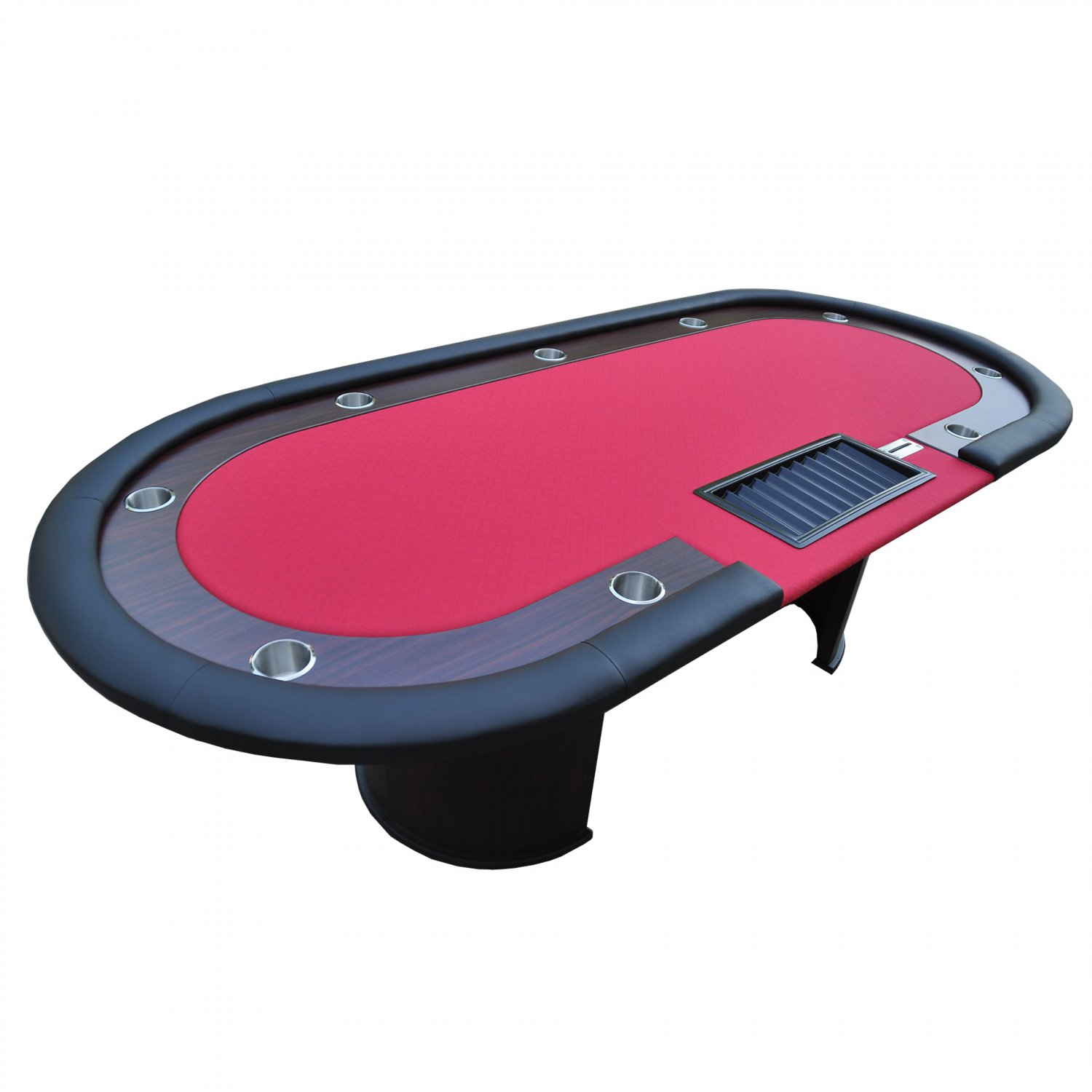 """96"""" 10 Players Texas Hold'em Wooden Legs Poker Table With Drop Box Red Ver.2(Ship US Only)#16367-R#"""