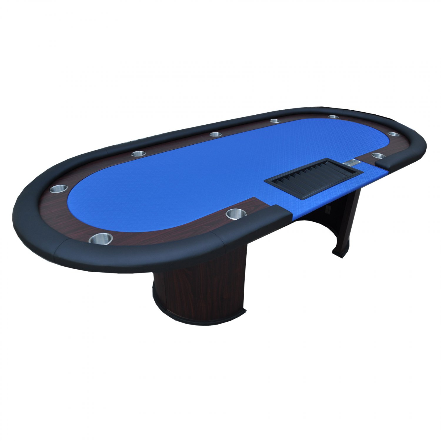 """96"""" 10 Players Texas Hold'em Wooden Legs Poker Table W/ Drop Box Blue Ver.2(Ship US Only)#16367-BL#"""