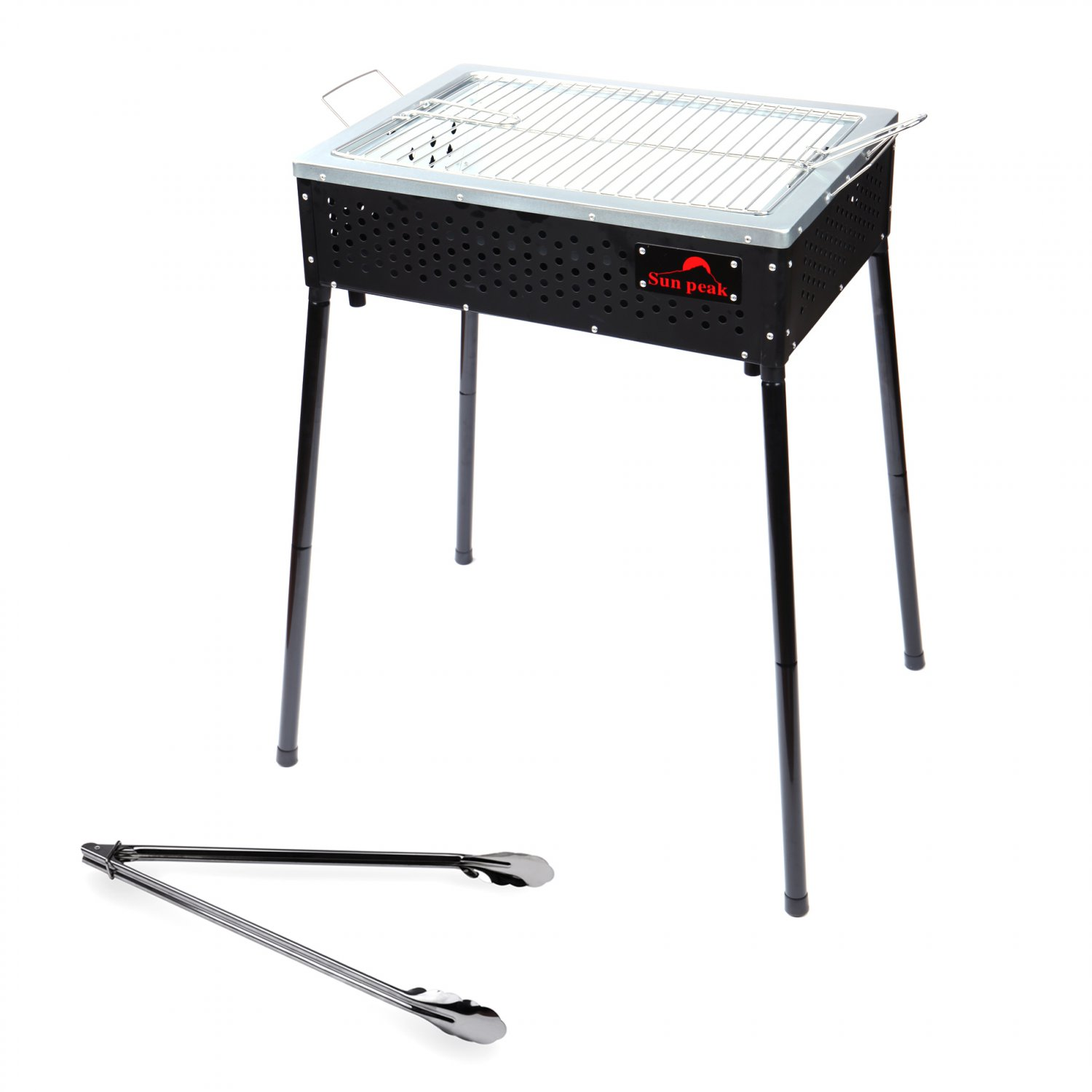 "Foldable Camp 20"" Medium Size BBQ Charcoal Grill Black+BBQ Tong(Ship US Only)SK-17135-BK+SK-17167{4}"
