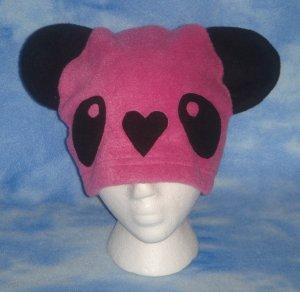 Pink Fleece Panda Hat Kawaii Cosplay Bear