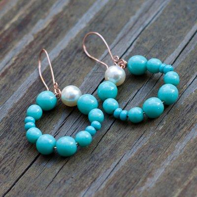 Swarovski Pearl and Turquoise Bead Hoop Earrings
