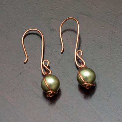 Dangling Olive Swarovski Pearls