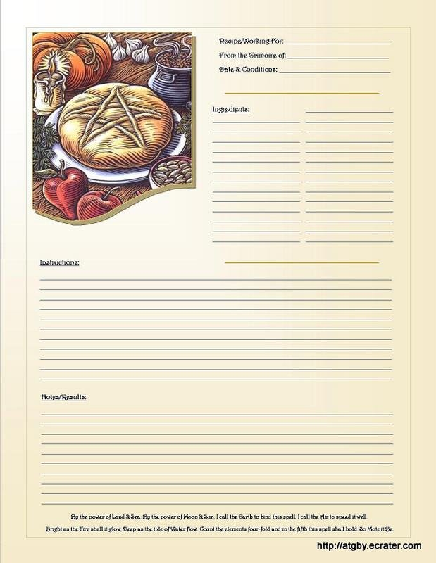 Recipe Grimoire Page