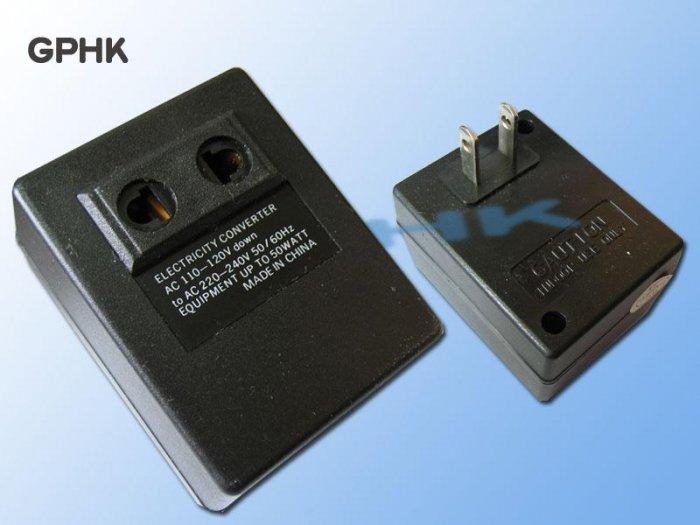 Electricity Converter Adapter 110V-120V to 220V-240V + prongs changer