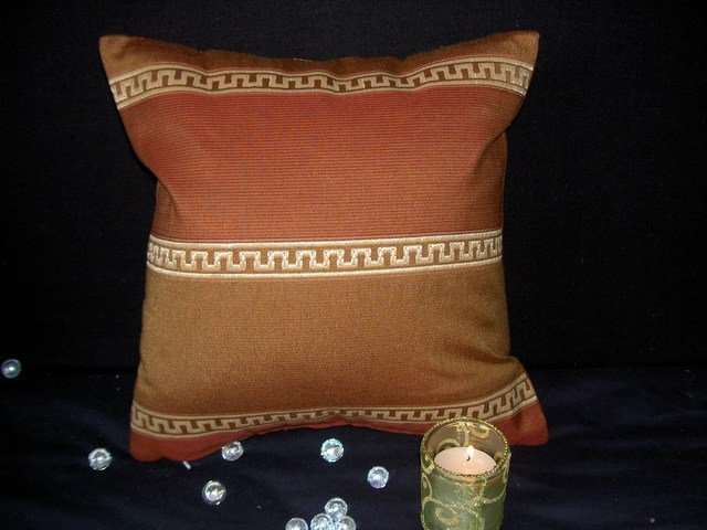 Brunschwig and Fils Terracotta Pillow Cover