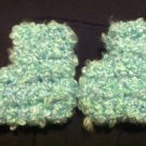 Soft Blue and Green Newborn Booties
