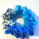 Blue Crocheted Variegated Frilly Hair Scrunchie