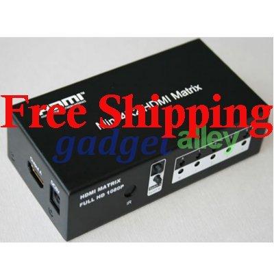 4x2 4 Inputs 2 Outputs HDMI 1.3b True Matrix Switch w/Remote Full 1080P HD