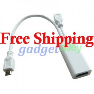 for HTC Amaze 4G Ruby MHL Micro USB to HDMI adapter White Socket F