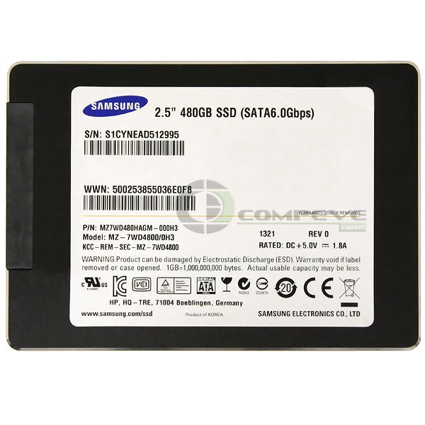 """Samsung MZ-7WD4800/0H3 2.5"""" 480GB SM843T SSD SATA 6 Gbps Solid State Drive"""