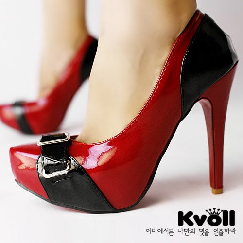 """New red black 4.7"""" high heels pump shoes US7"""
