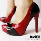 "New red black 4.7"" high heels pump shoes US7"