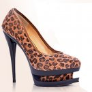 "New Brown Leopard 5.1"" heels  shoes US7"