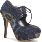 "New Dark Blue Embroidery 4.7""Heels Pump shoes US7"