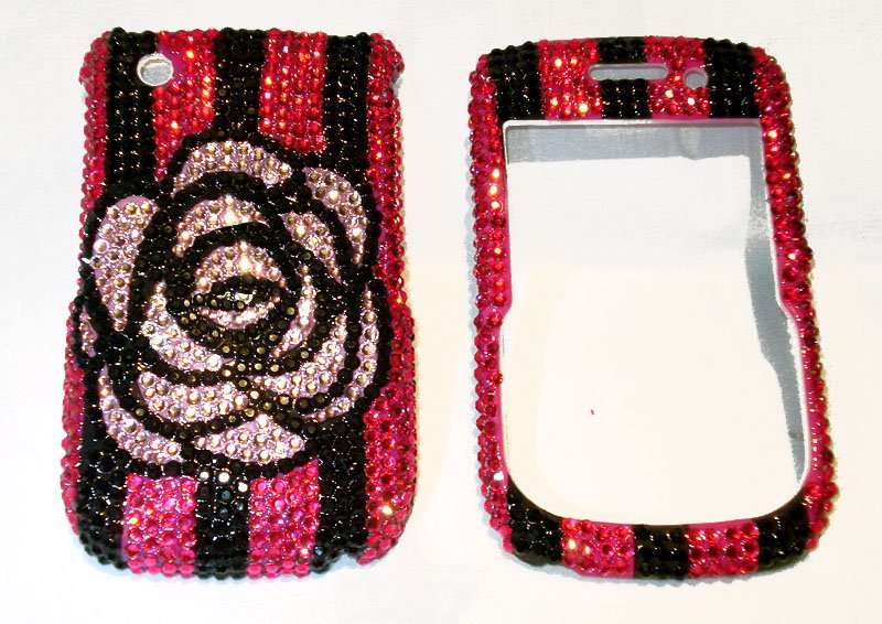 Camellia Blackberry Curve 8520 rhinestones bling case