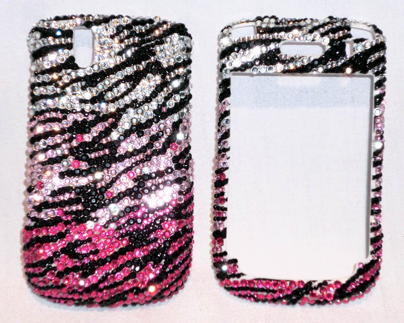 Zebra rhinestones Blackberry Curve 8530 bling case