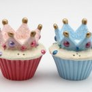 King and Queen Crown Cupcake Salt and Pepper Shaker Set