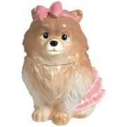 Pomeranian Dog With Pink Ribbon Cookie Jar