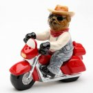 Bandit Dog driving Motorcycle Salt and Pepper