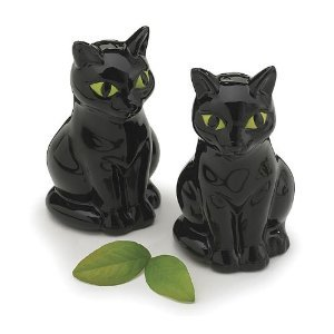 Black Cat With Green Eyes Salt And Pepper