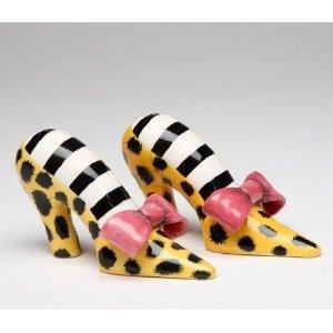 Leopard Print High Heel Shoe With Pink Bow Salt Pepper