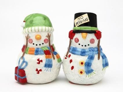 Christmas - No Peeking Snowman Salt and Pepper