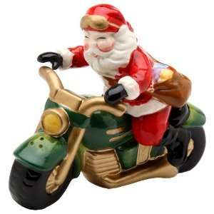 Christmas ~ Santa Riding A Motorcycle Salt and Pepper