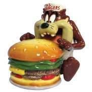 Looney Tune Taz Tazmanian Eating Burger Salt and Pepper