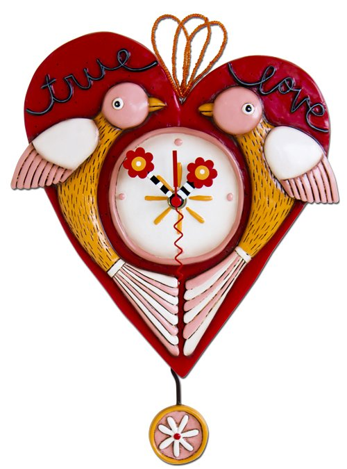 MICHELLE ALLEN True Love Red w/ Two Birds Heart Clock