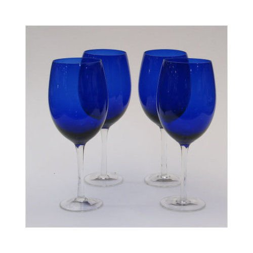 Blue 18 oz White Wine Glasses (set of 4)