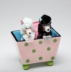 Ruby Black and White Poodle Dogs in Polka Dot Basket Salt and Pepper
