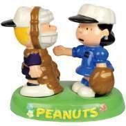 Peanut Schroeder & Lucy Baseball in Tray Salt Pepper