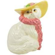 Glamorous Puss CAT Wearing Hat and pink Scarf Cookie Jar