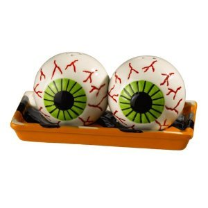 Grasslands Road Monster Mash Eyeball Magnetic Salt and Pepper with Striped Tray
