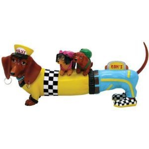 Hot Diggity Dachshund Taxi Mom Dog Figurine Home Decor