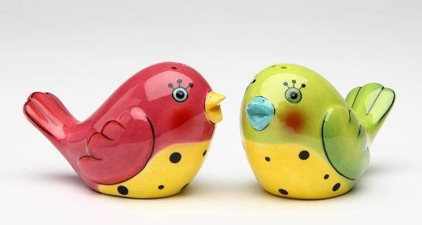 Pink and Green Love Bird Couple Salt and Pepper