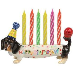 Hot Diggity Dachsund Dog Happy Birthday Cake Topper Figurine