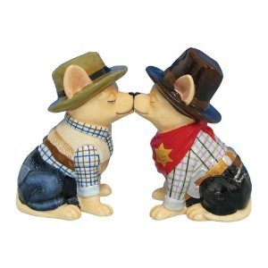 MWAH Aye Chihuahua Cowgirl and Cowboy Kissing Dog Salt and Pepper