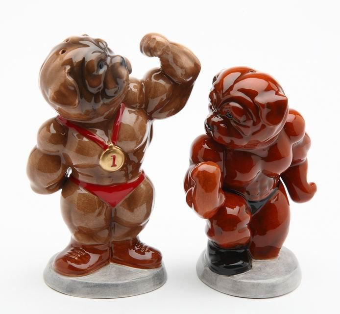 Body Building Champion Bulldog Salt and Pepper