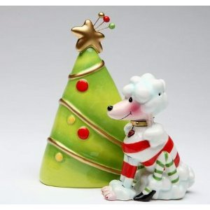 """White Poodle Dog with Green Christmas Tree Salt & Pepper Shakers """"Ruby"""" by Babs"""