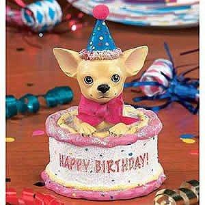 Aye Chihuahua Birthday On Cake Dog Figurine