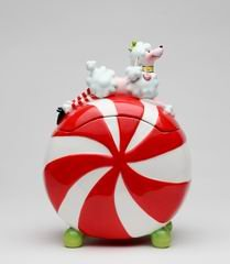 Ruby White Poodle Dog Peppermint Cookie Jar