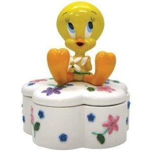LOONEY TUNES TWEETY & FLOWERS TRINKET BOX FIGURINE