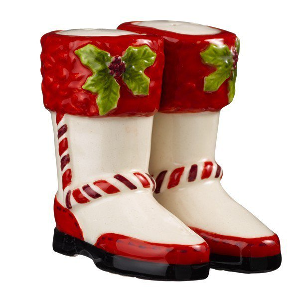 Magnetic Red and White Boot Shoe Salt and Pepper