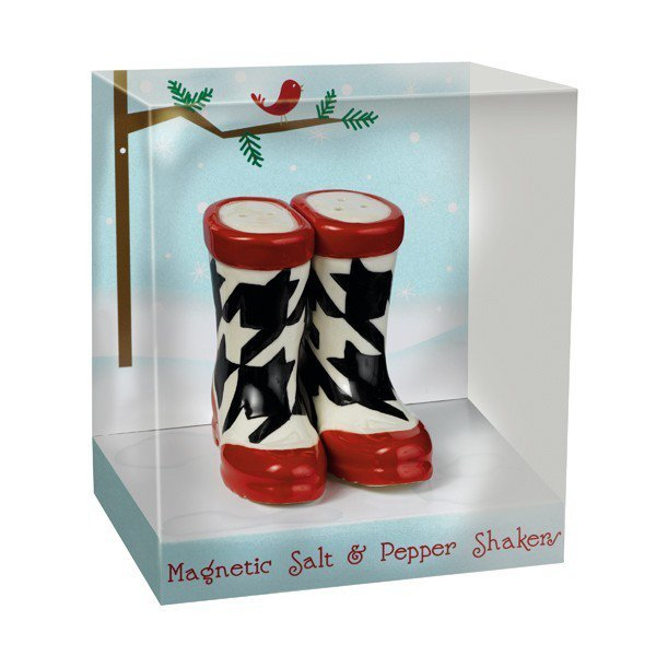 Magnetic Black and White Boot Shoe Salt and Pepper